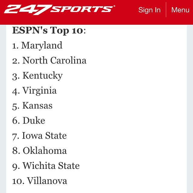 NCAA Men Basketball Pre Season rankings were released today will Maryland ranked No. 1 http://t.co/HuUZqQScjT