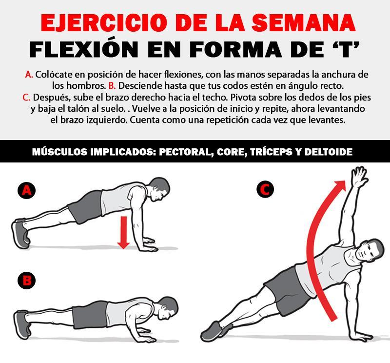 Esta semana te proponemos que hagas la flexión en forma de 'T'. Aviso: no es tan fácil como parece... #fitness http://t.co/LrWzgIWoQZ