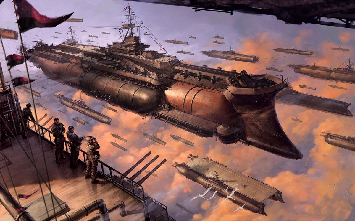 Esto, aunque es steampunk por completo, también me recuerda a ciertas naves...
