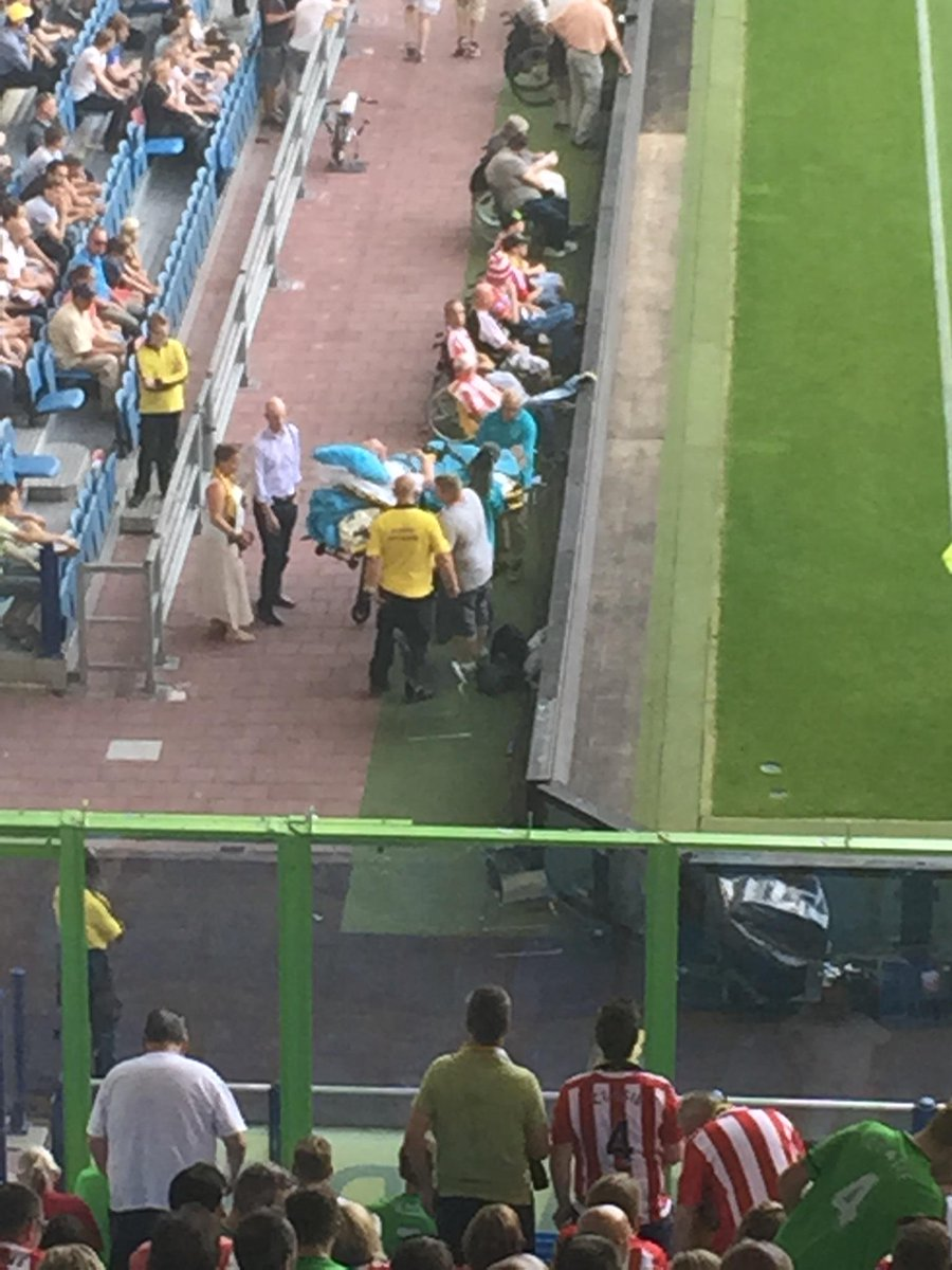 Wow there is a fan watching from a hospital bed at the side of the pitch #saintsfc http://t.co/QJ5Ev4gh1G