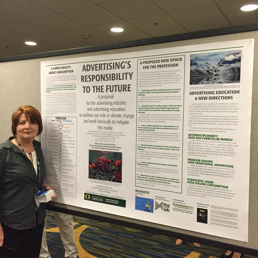 Professor Deborah Morrison @debkmorrison presents her work on Advertising's Responsibility to the Future at #AEJMC15. http://t.co/XiDNtt9cUn