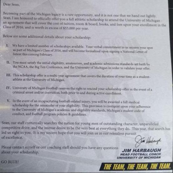 Michigan recruit mckeonsean tweets official offer letter has