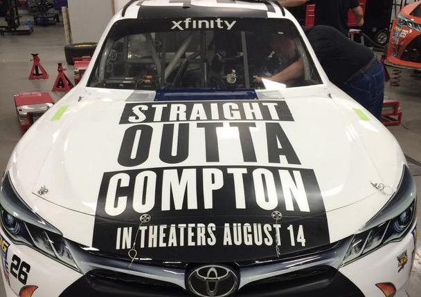"NASCAR driver Tomy Drissi will use this ""Straight Outta Compton"" car in Saturday's race http://t.co/X5cQMxHmXR http://t.co/0kqO8HVtyJ"