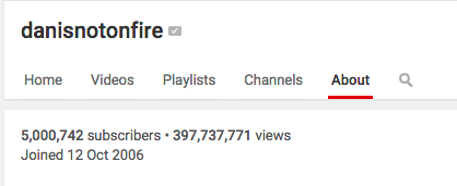 Holy guacamole, congratulations on a massive 5 MILLION subscribers, @danisnotonfire!! http://t.co/BPkS9jziYE