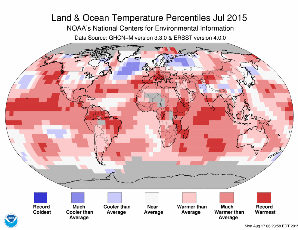 JUST IN: July 2015 warmest month ever recorded for globe says @NOAANCEIclimate #StateOfClimate http://t.co/XGv9BkJJsT http://t.co/MPmobyGAK7