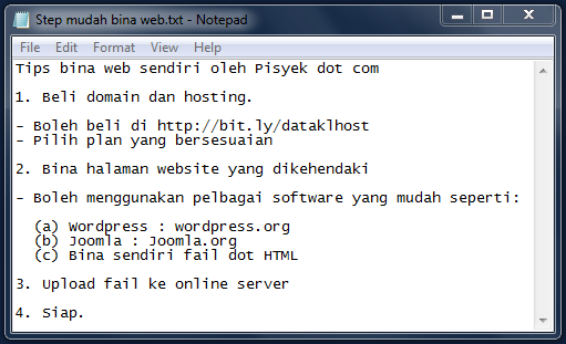 Td Bini tanya cara mudah buat website. Saje nk sharing dgn uols jgk. Hihihi. cc @salwaabubakar #tips #tutorial http://t.co/obMWp4cIX6