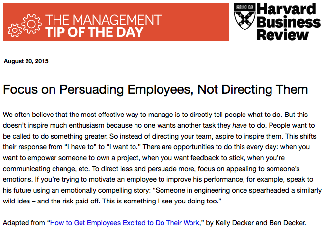 Our management tip of the day: Motivating employees requires persuasion, not direction http://t.co/JMp7TWGTiY