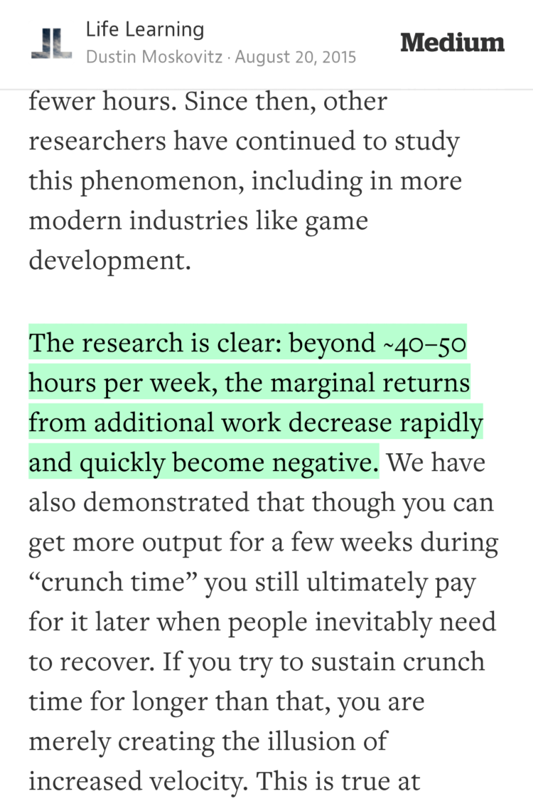 """""""The research is clear: beyond ~40–50 hours per week, the marginal returns from…""""—@moskov https://t.co/OyzkvfDq3J http://t.co/nbBaF6Ce2E"""