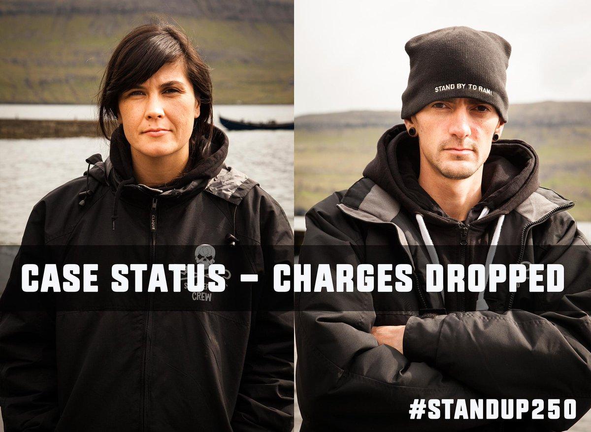 RT @seashepherd: #BREAKING Charges against 2 #SeaShepherd crew have been dropped! #StandUp250 #FaroeIslands http://t.co/ganqKwS0eW http://t…