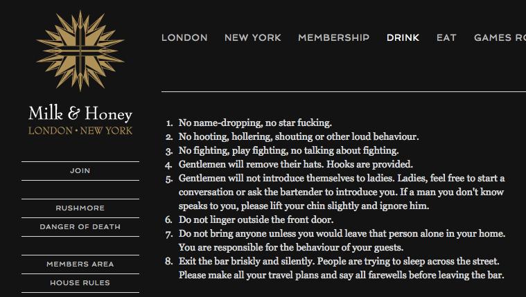 Milk & Honey's house rules. Always loved reading these. (via http://t.co/FB2B45jZtB) #sashapetraske http://t.co/9sz6zAoBWA