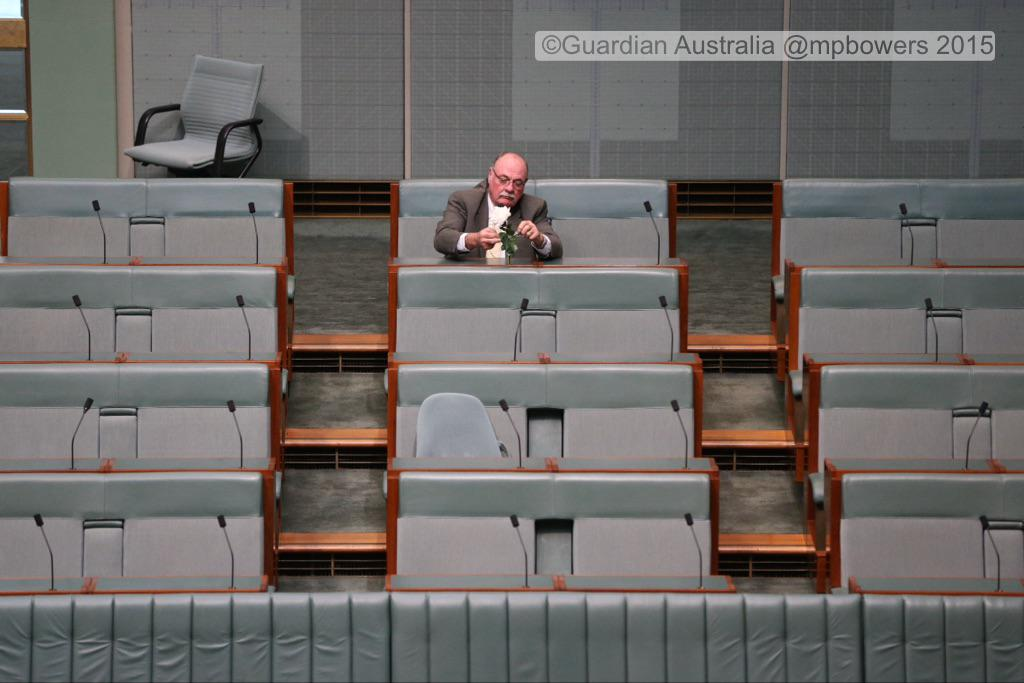 Warren Entsch ties a flower around the mic where the late Don Randall sat @murpharoo @GuardianAus #politicslive http://t.co/aOoWvOfUxB