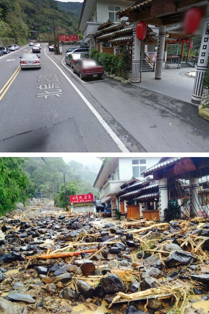 My friend lives up a mountain in Taiwan. This is what the main road looks like right now