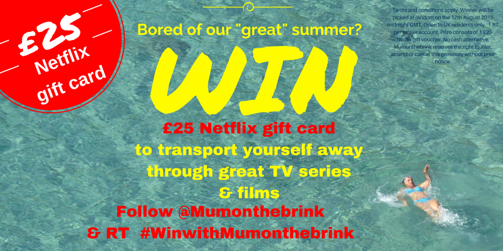 Bored of this weather? Have a TV day with Netflix!  Follow & RT to #win £25 Netflix gift card #winwithMumonthebrink http://t.co/KwNQW9U0r1