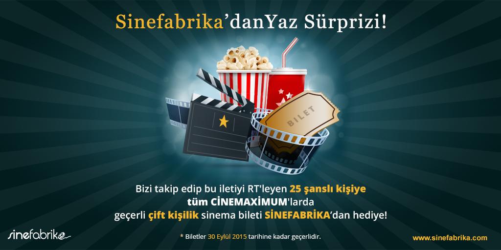 Bu iletiyi RT edip, bizi takip edenler arasından 25 şanslı kişi Cinemaximum'dan çift kişilik sinema bileti kazanıyor! http://t.co/07HX1PEi1O