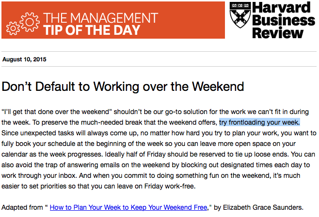 Today's management tip: Start planning for a work-free weekend http://t.co/PBWibKOVgJ