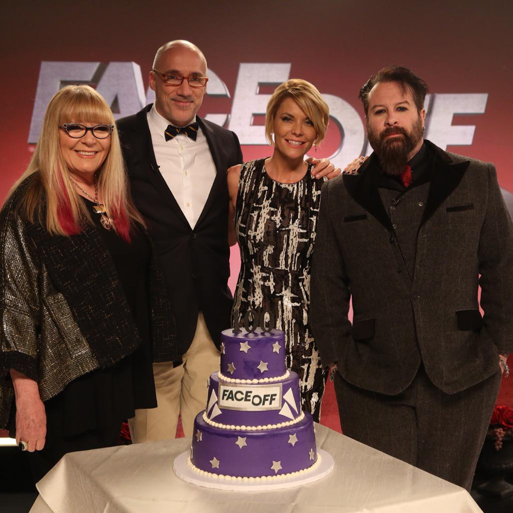 Join the #celebration!  #FaceOff's 100th episode airs TOMORROW @ 9/8c on @Syfy! @FaceOffSyfy #FaceOff100 #MakeupFX http://t.co/yidg87SJIi