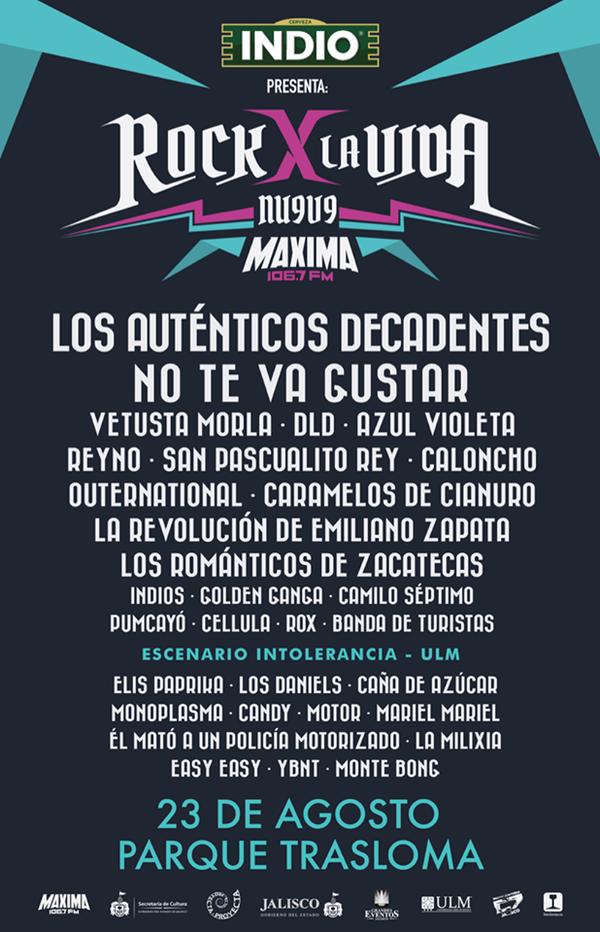 Guadalajara nos vemos este 23 de Agosto en el @Rockporlavida de @MAXIMA1067FM ¡Gran Cartel! http://t.co/lT1JHQurI8