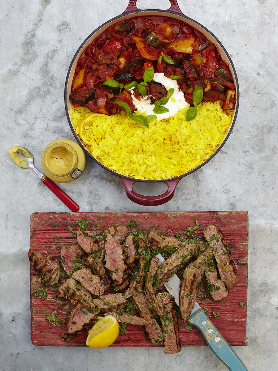 morning guys #recipeoftheday quick and healthy grilled steak ratatouille & saffron rice! http://t.co/0XLYnNi4r3 http://t.co/0KY0kPRLWn