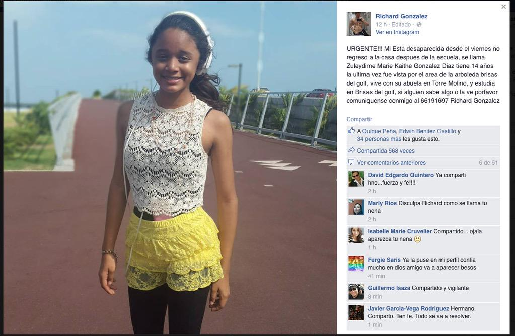 FAVOR RT, la hija de @RichardMusicPTY esta desaparecida, ayuden a difundir GRACIAS  66191697 Richard Gonzalez http://t.co/yZyBudIHFr