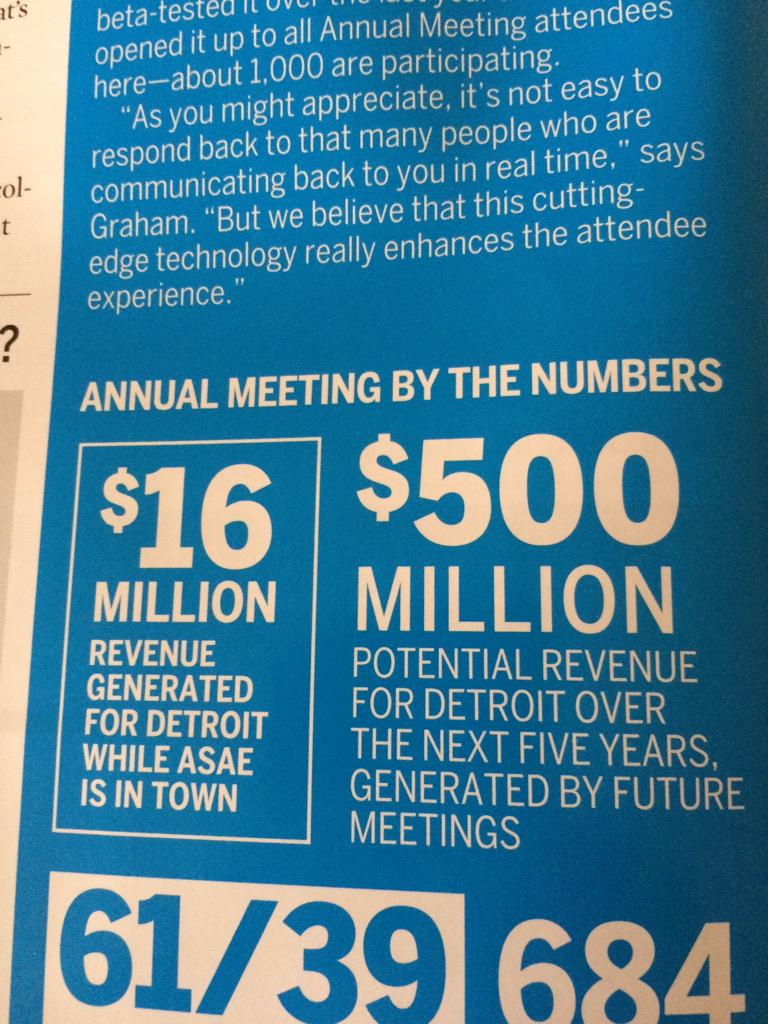 How much does #asae15 mean to Detroit? About this much. @VisitDetroit @ASAEannual http://t.co/eWYDXnxSHI