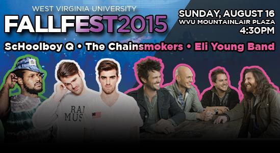 #WVUFallFest 2015 lineup: @ScHoolBoyQ @TheChainsmokers and @EliYoungBand #WVU http://t.co/9aONZGckve