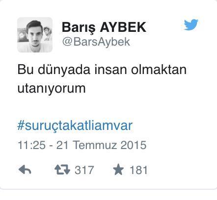 Karakol saldırısında öldürülen askerin Suruç tweet'i hepimizi savaşı bitiremeyen işe yaramazlar gibi hissettirmeli... http://t.co/Oocrh0lGLn