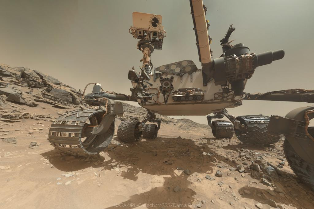 New selfie from Curiosity was stitched together for release today, just a nuclear-powered car on another planet: http://t.co/gWOyeVLOHe