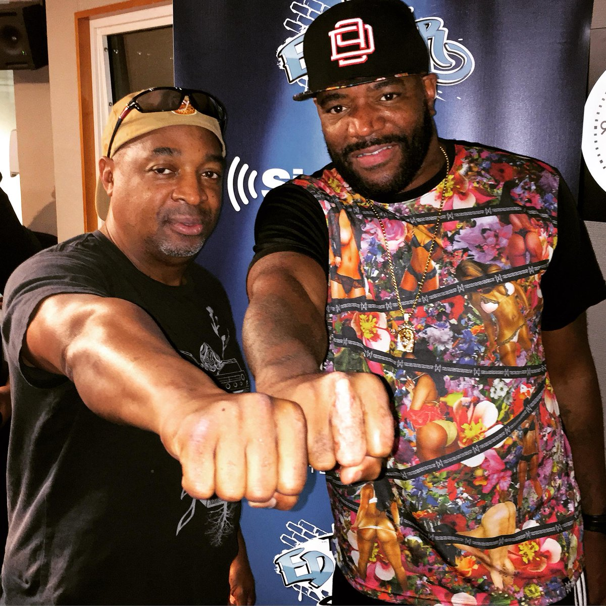 last friday night...@MrChuckD + @MrEdLover chopping it up about the new @PublicEnemyFTP album on @siriusxm. CLASSIC. http://t.co/lH7IJF6Swf