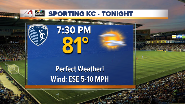 Here ya go @RobbHeineman ...Perfect weather for @SportingKC tonight.  Dry and comfortable temps :) http://t.co/zDfDaLEs0m