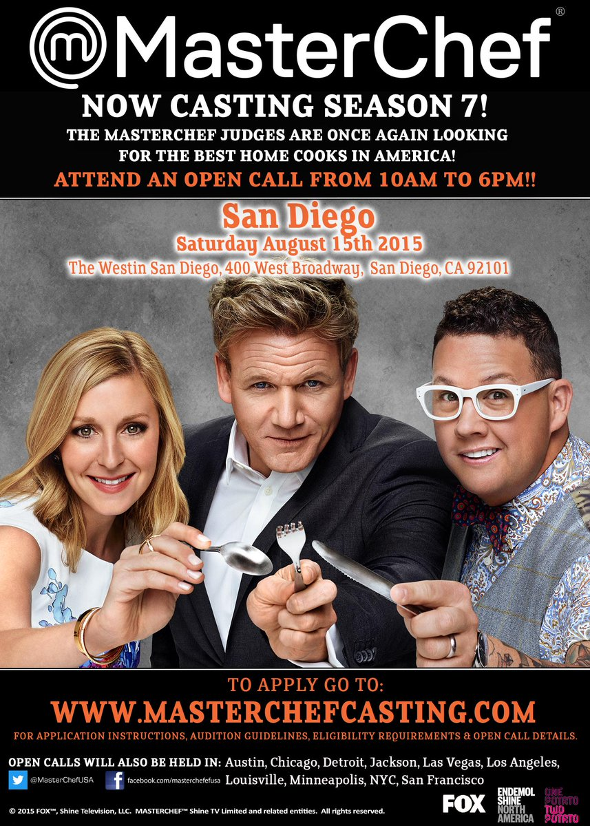 3 more days, #sandiego! Get your signature dish ready! #masterchef #masterchefcasting #thewestinsandiego #homecooks http://t.co/Za4u04F3mj