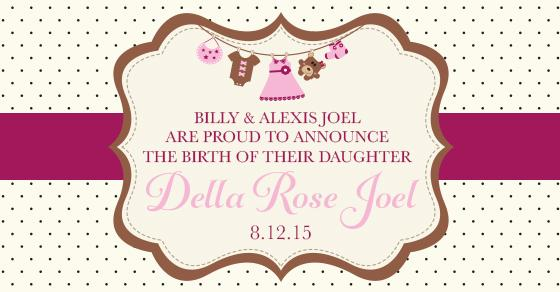 Billy & Alexis Joel proudly announce the birth of their daughter Della Rose Joel! More here: http://t.co/gSint9L1DD http://t.co/iSTLQfZZ2b