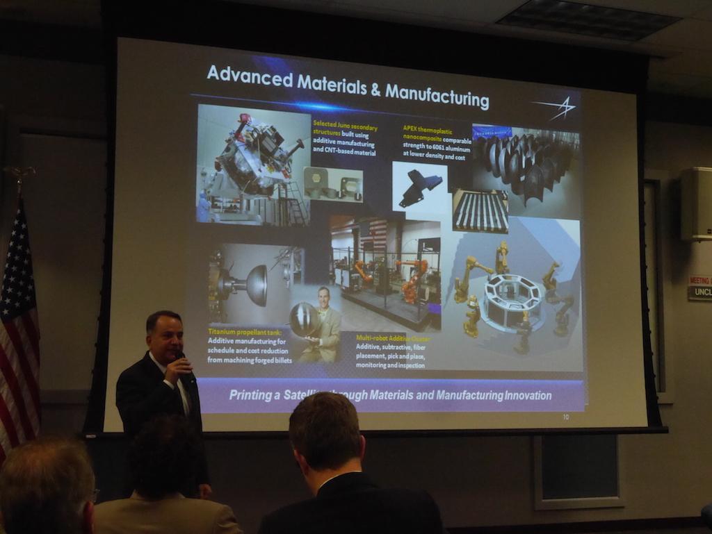 3D printing old hat? Think again @LockheedMartin 3D print satellite parts. Plan to print whole sats #SpaceMissionUK http://t.co/gv8JsXSanK