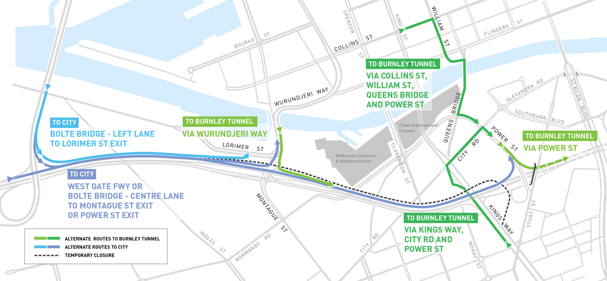 A reminder detours are in place while Kings Way closures remain @3AW693 @774melbourne @TripleMMelb @kiis1011 http://t.co/Qbf9vpS3Iz
