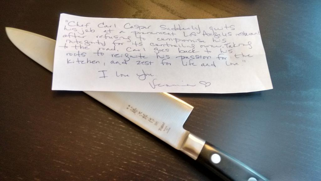 Got an amazing chef's knife from @MrsGillas for my birthday today. She was inspired by @Jon_Favreau on this one. http://t.co/IDo7Ntu1VF