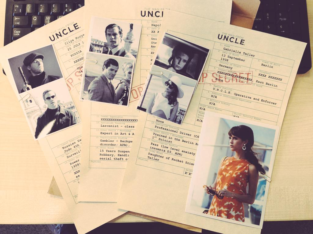 Clearly breaking protocol by sharing this top secret #ManFromUNCLE dossier. Like a cinematic Edward Snowden. http://t.co/6epXxIPI7J