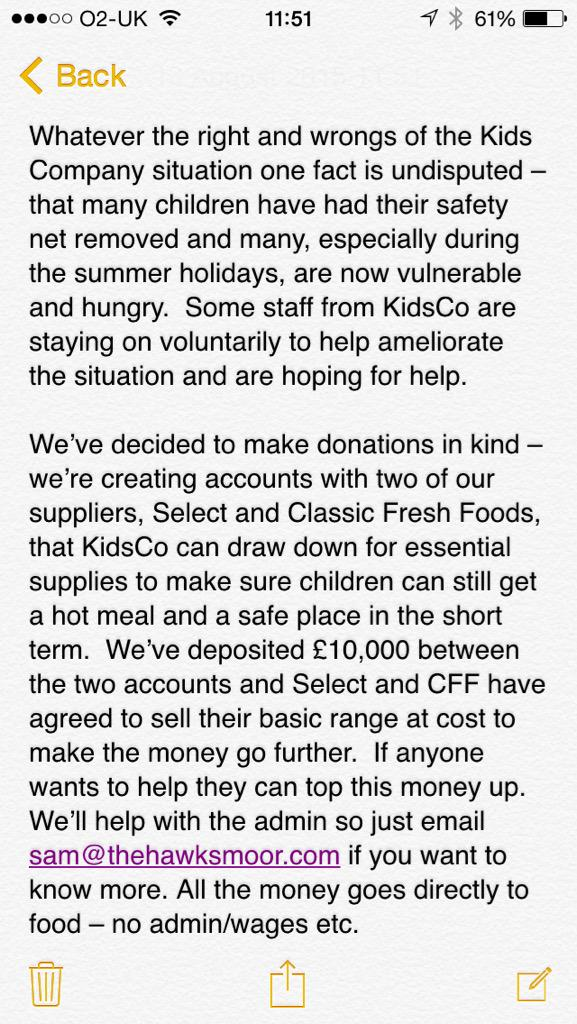 Dear industry friends, a note about the children previously supported by #KidsCompany. Please RT. http://t.co/0r41emGQ9g