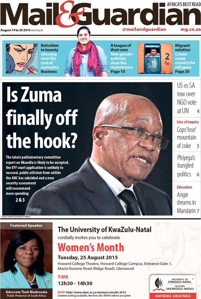 Here is what you can expect in the M&G tomorrow. Africa's best read. http://t.co/kLH6gVV8zr