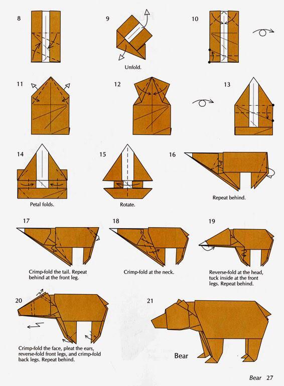 Оригами схемы медведи