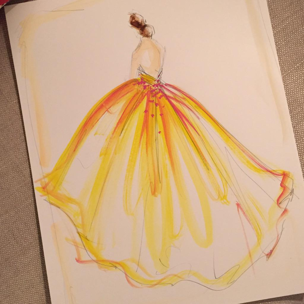 Sketch of the day: yellow organza ball gown. sketch prints available ...