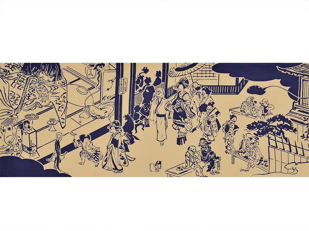 今日から「渋谷モノノケ市」はじまりました!吉原妖怪呉服店として出店しています。東急ハンズ渋谷店B2Cイベントスペースにて。新作の妖怪手ぬぐい、いい感じに染まってます! #渋谷モノノケ市 http://t.co/d768S8ZtqN