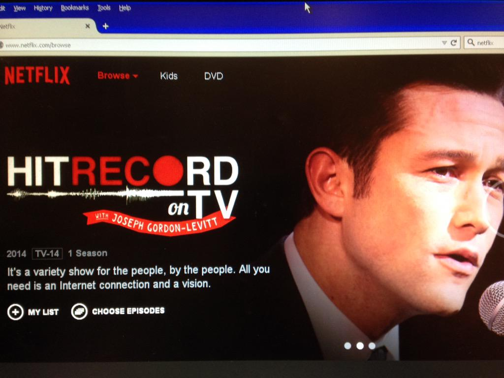 RT @jalbertz6: So happy about the new addition to Netflix! #HITRECORDonTV http://t.co/shEuf0UVuF