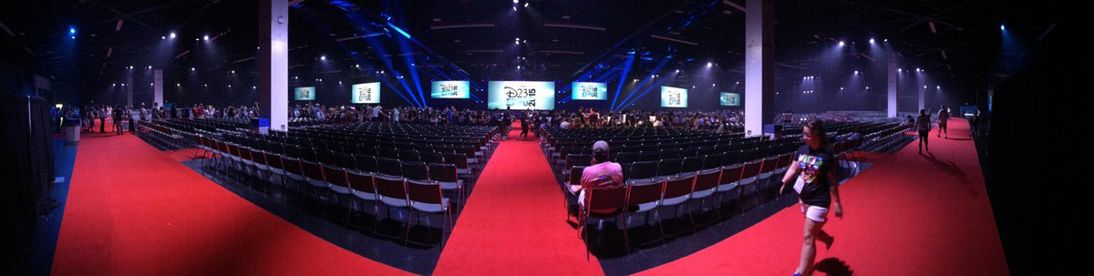 We are in #HallD23. Here's a pano from the back of the room. It's sideways compared to #HallH at SDCC. http://t.co/Gc8fdiayHZ