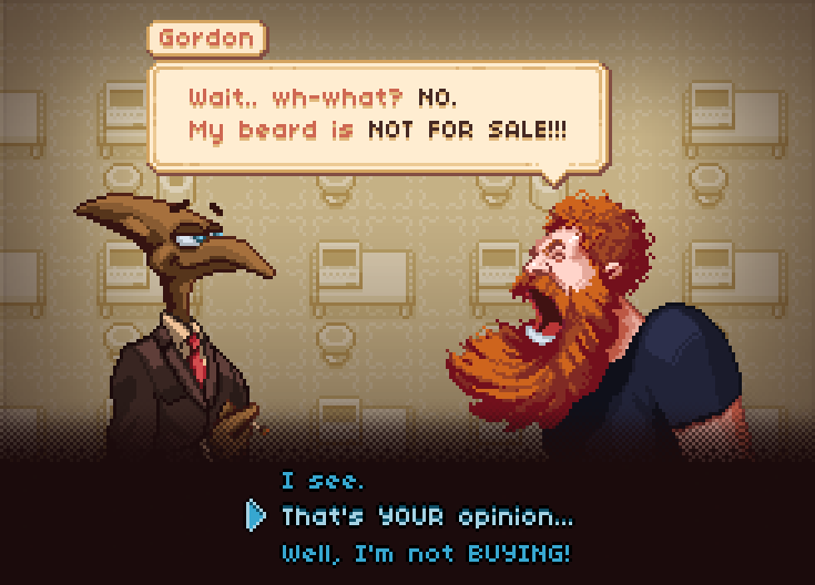 I'm making #pixelart for @ThatKramerGuy's new game! Here's some character and dialog study :) #gamedev http://t.co/OxP17z6XlD