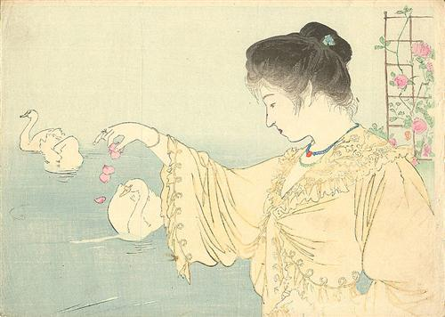 """Be happy.  It's one way of being wise.""  Colette (Woman and White Swans, Kiyokata) http://t.co/W0s8nFUqtQ by @EstherHawdon"