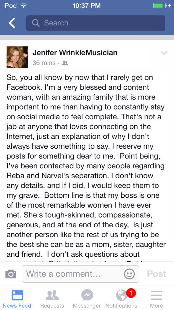 Reba's back up singer posted this about 35 min ago http://t.co/hn7Qf3p63j