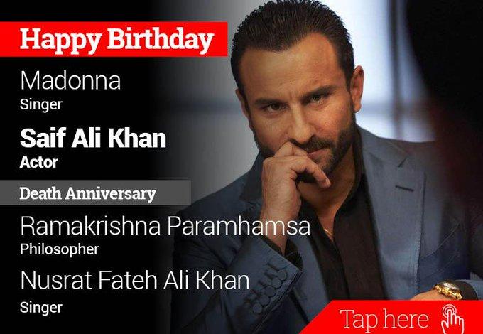Homage RamaKrishna Parmhamsa, Nusrat Fateh Ali Khan. Happy Birthday Madonna, Saif Ali Khan