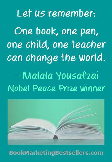 One book, one pen, one child, one teacher can change the world. — Malala Yousafzai http://t.co/UQdnTyhgiq #books http://t.co/gXsm5EuzDl