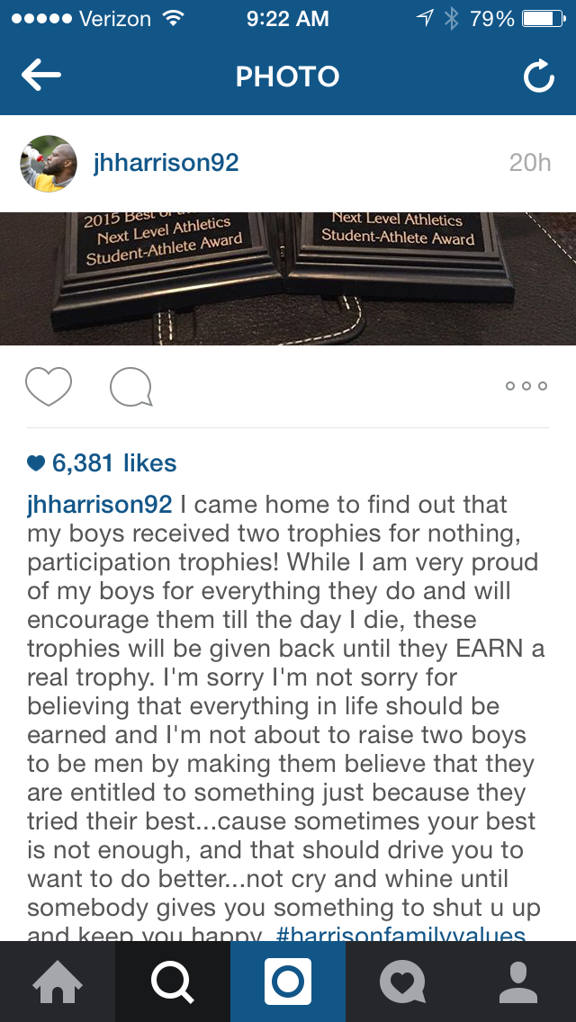#Steelers LB James Harrison takes a strong stance against participation trophies for his sons. Interesting #Hottake http://t.co/XJLgb9jl8E