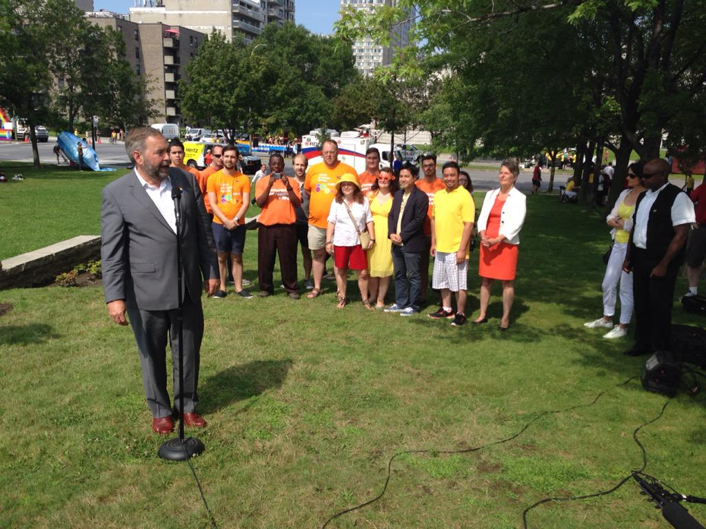 """.@ThomasMulcair says @pmharper sends a """"bad signal"""" by not coming to pride. """"His absence is noted."""" #cbcmtl #cdnpoli http://t.co/NYpX23HffR"""