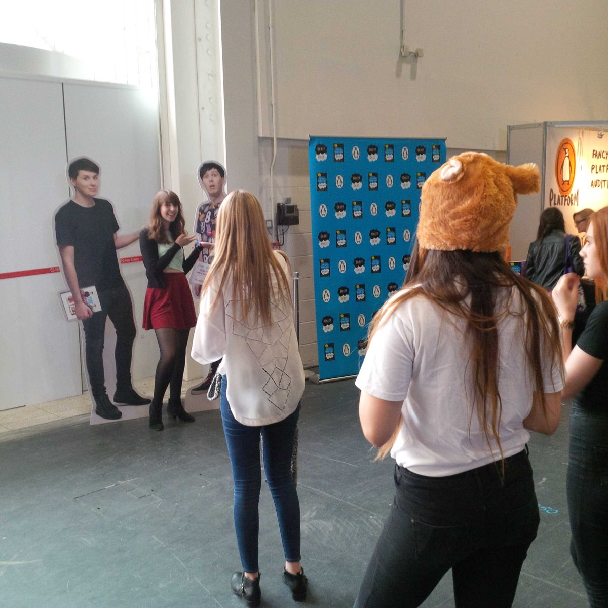 A queue has formed to meet and greet cardboard cutouts of Dan and Phil @summerinthecity #sitc2015 http://t.co/sXBd3TTUWm